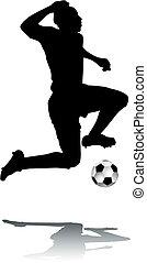silhouette, voetballer