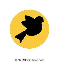 silhouette, vogel, illustratie