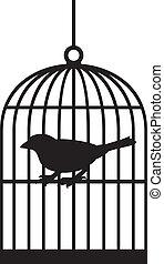 silhouette, vogel, käfige
