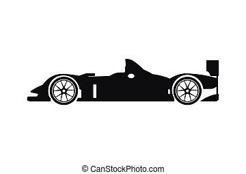 silhouette, voiture, arrière-plan noir, blanc, courses