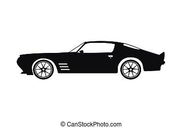 silhouette, voiture, sports, arrière-plan noir, blanc