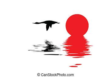 silhouette, volare, oca, vettore, fondo, bianco