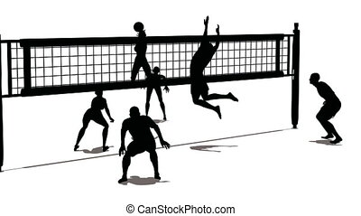 silhouette, volley-ball
