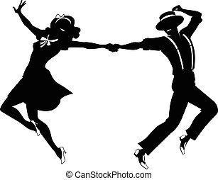 silhouette, von, a, ehepaar, tanzt