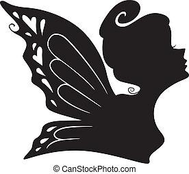 silhouette, von, a, fee, m�dchen