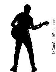 silhouette, von, a, gitarrist