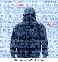 silhouette, von, a, hacker, isloated, weiß