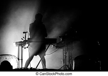 silhouette, von, a, keyboardist, in, stadium lichter