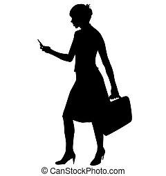 silhouette, von, a, unternehmerin