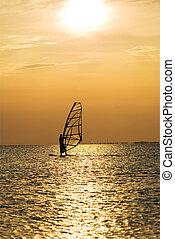 silhouette, von, a, windsurfer, auf, a, sonnenuntergang