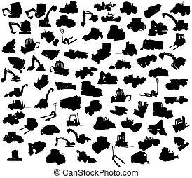 silhouette, von, baugewerbe, lastwagen