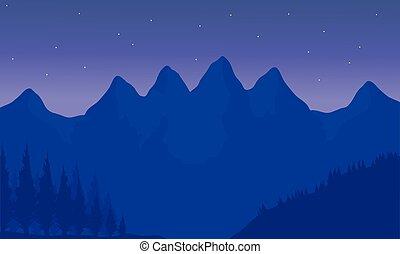 silhouette, von, berg, mit, purpurroter hintergrund
