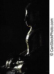 silhouette, von, buddha