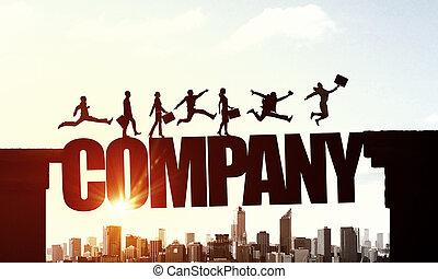 silhouette, von, businesspeople, aus, sonnenaufgang