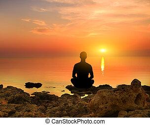 silhouette, von, der, meditieren