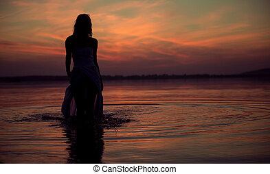 silhouette, von, der, wasser, nymphe