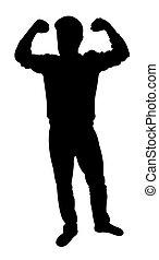silhouette, von, fitness, mann, freigestellt