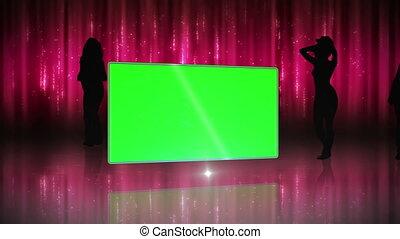 silhouette, von, frauen, tanzen, mit, sc