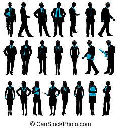 silhouette, von, geschäftsmenschen