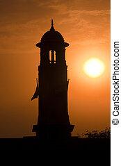 silhouette, von, indische , parlament