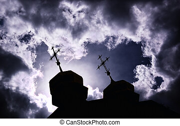silhouette, von, kirche, mit, kreuze