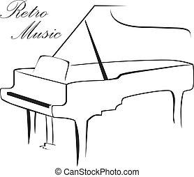 silhouette, von, klavier