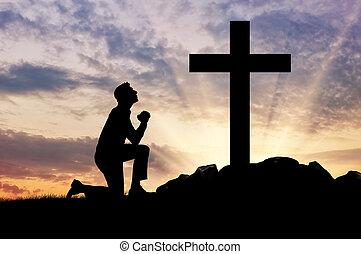 silhouette, von, mann, beten