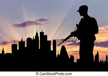 silhouette, von, militaer, waffen