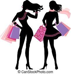 silhouette, von, shoppen, m�dchen