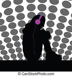 silhouette, von, traurige , m�dchen, hören musik