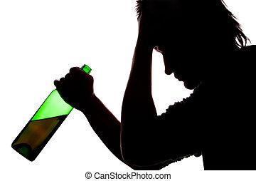 silhouette, von, traurige , mann, trinken, alkohol