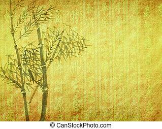 silhouette, von, zweige, von, a, bambus, auf, papier, hintergrund