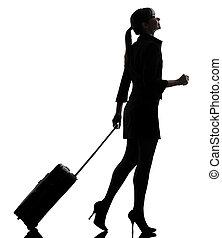 silhouette, voyager, marche, affaires femme