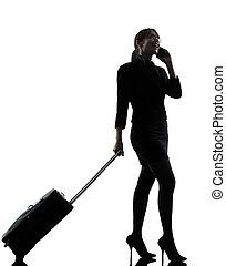 silhouette, voyager, téléphone, affaires femme