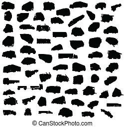 silhouette, vrachtwagens