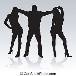 silhouette, vrienden, -
