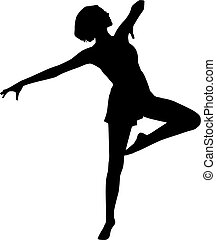 silhouette, vrouw, dans
