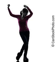silhouette, vrouw dansen, vrolijke