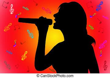 silhouette, vrouw, het zingen