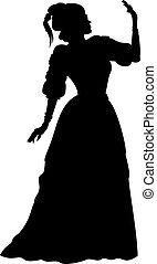 silhouette, vrouw, in, een, baljurk