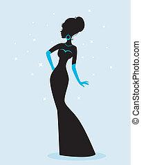 silhouette, vrouw, jurkje