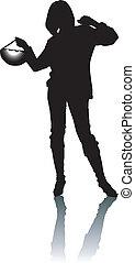 silhouette, vrouw, met, elegantie, hand