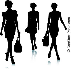silhouette, vrouw, mode