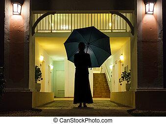 silhouette, vrouw, paraplu, vasthouden