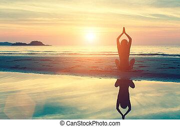 silhouette, vrouw, yoga
