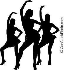 silhouette, vrouwen, dans