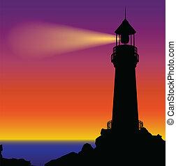 silhouette, vuurtoren, ondergaande zon