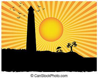 silhouette, vuurtoren, strand, zon ray, grunge