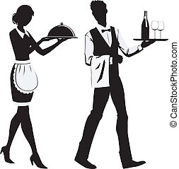 Silhouette waiters - silhouette of the waitress and the...