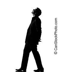 silhouette, wandelende, man, het kijken, musing, op